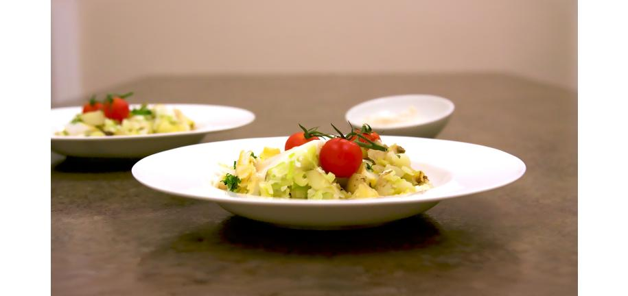 Smoked Haddock and Leek Hash in a bowl on a table