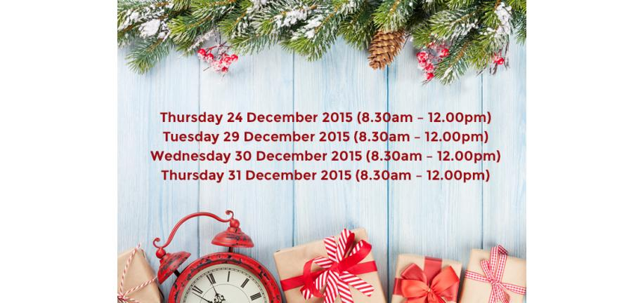 Christmas Opening Hours and Delivery